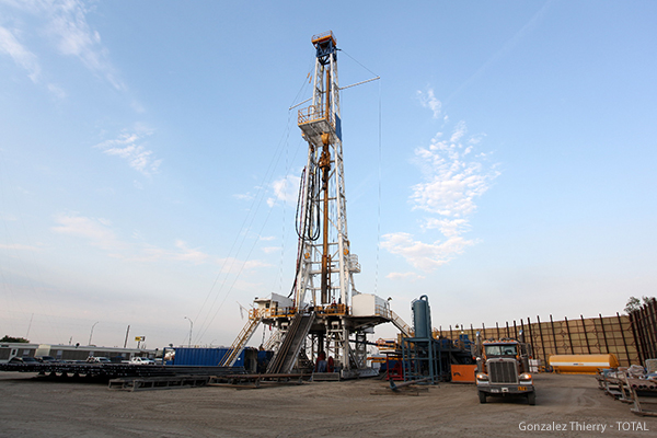 Onshore drilling rig in Fort Worth, Texas in the United States