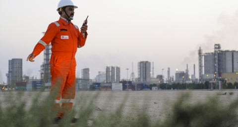 Plant operator at the Qapco petrochemical complex, located on the Mesaieed industrial site, Qatar