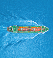 Aerial top view LPG tanker on the sea