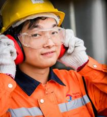 Operator at the polymer plant in Ningbo, China