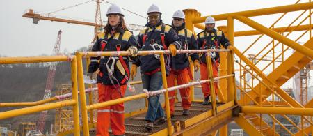 Total employees inspecting the OFON 2 offshore platform in Ulsan, South Korea.