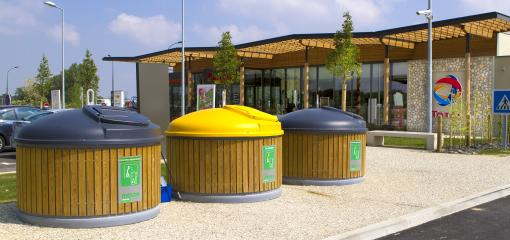Molok waste recycling containers at the Adour service station