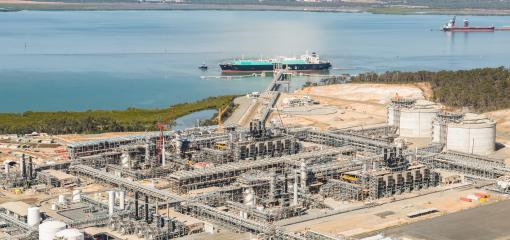 View of the gas treatment plant and liquefaction terminal in Gladstone, Australia.