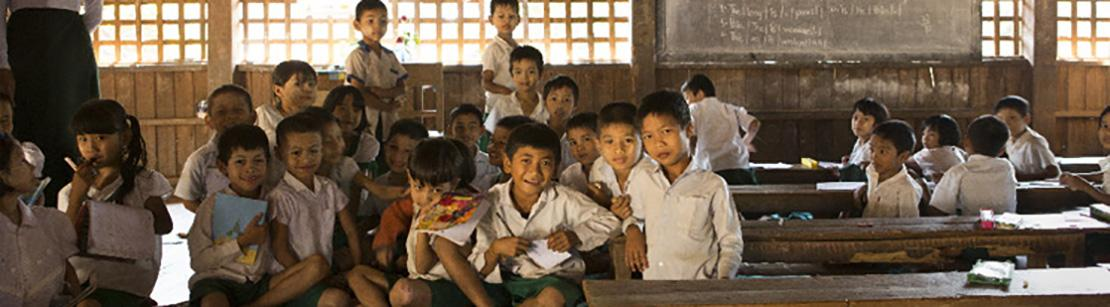 Schoolchildren in the village of Kanbauk, Myanmar
