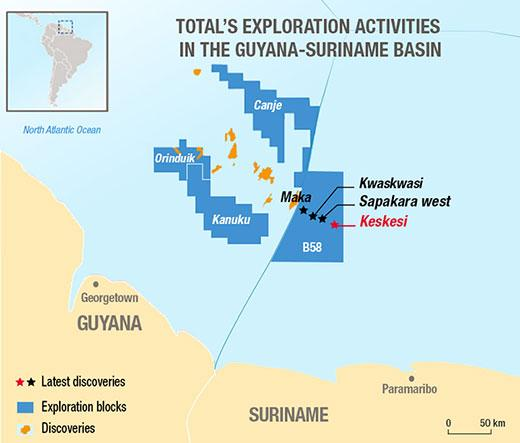 Total's Exploration Activities in the Guyana Suriname Basin
