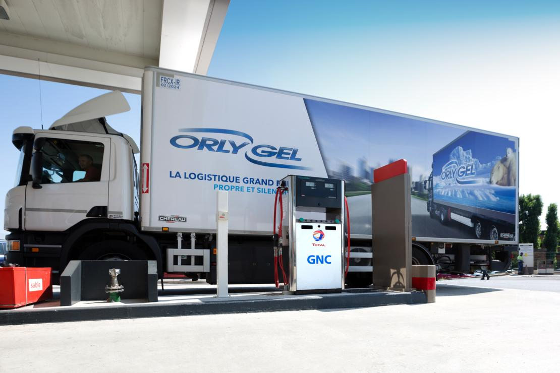 Total filling station distributing Compressed Natural Gas (CNG) in France.