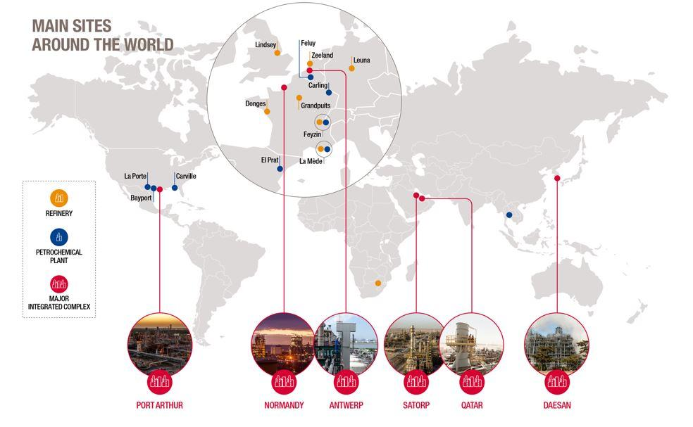 Our 6 integrated refining and petrochemicals platforms around the world