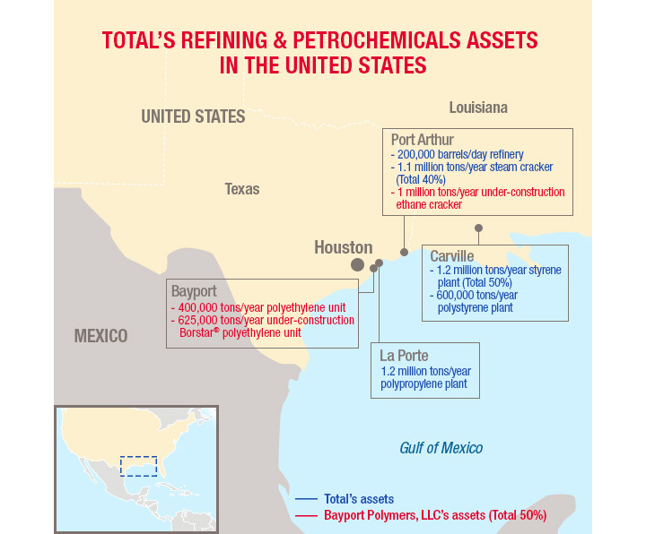 Map of Total's refining & petrochemicals assets in the USA (Borstar Port-Arthur)