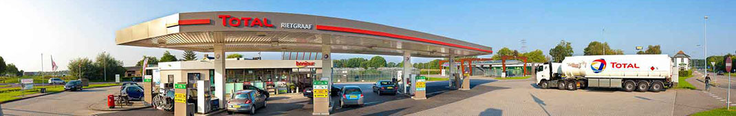 Panoramic view of a Total service station in the Netherlands